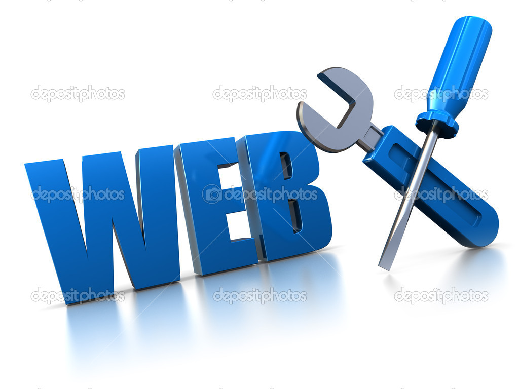 3d illustration of web construction symbol with wrench and screwdriver — 图库照片 #3622966
