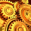 Golden gear wheels — Stock Photo
