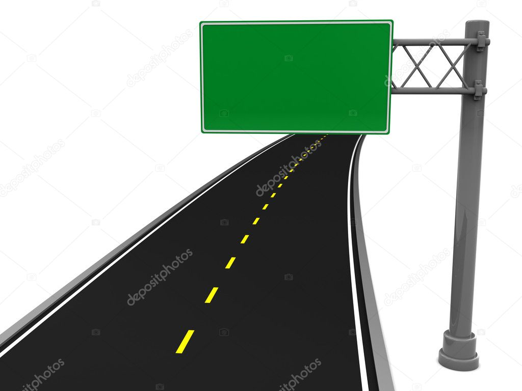 3d illustration of asphalt road and blank road sign — Stock Photo #3683561