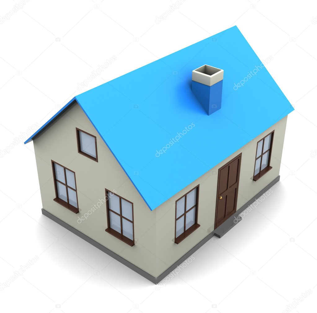 3d illustration of generic house model over white background — Stock Photo #3791958