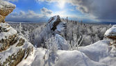 Winter forest in Ural Mountains — Stock Photo