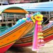 Colorful tourist long-tail boats on chao phraya river in bangkok thailand — Stock Photo