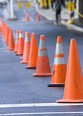 Cones in a street symbolizing limits — Stock Photo
