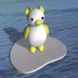 Stock Photo: White she-bear on ice floe in sea, 3d.