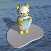 The white she-bear on an ice floe in the sea reads the letter, 3d. — Stock Photo