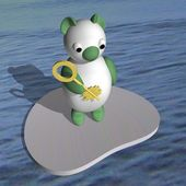 The polar bear on an ice floe in the sea holds in a hand a flat key, 3d. — Stock Photo