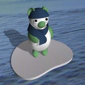 Polar bear in a cap and a scarf on an ice floe in the sea, 3d. — Stock Photo