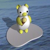 The white bear cub on an ice floe in the sea eats ice-cream, 3d. — Stock Photo