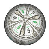 Dollar sphere on a white background. — Stock Photo