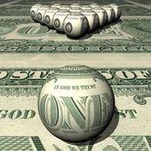 Dollar-billard-kugeln auf einem dollar-hintergrund. — Stockfoto