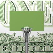 Dollar basketball board, ring, grid and ball on a dollar background — Stock Photo