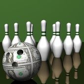 Dollar ball and white size of bowling on a smooth surface. — Stock Photo