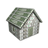 The small one-storeyed dollar house, 3d, a white background. — Stock Photo