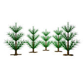Green New Year Christmas fur-trees, are not dressed up, 3d — Stock Photo