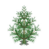 The green New Year Christmas fur-tree, is not dressed up, 3d — Stock Photo
