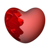 Red heart with a rose, 3d, is isolated. — Stock Photo
