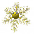 Yellow snowflake with eyes on a white background, it is isolated, 3d. — Stock Photo #3852303
