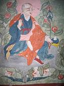 Dibujos de muralla medieval de ladakh, india, en un monasterio sobre un leh. — Foto de Stock