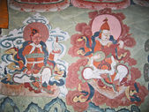 Ladakh, India, medieval wall drawings in a monastery about a Leh. — Stock Photo