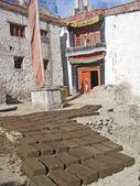 Ladakh, India, capital Leh, manufacturing of bricks for building — Stock Photo
