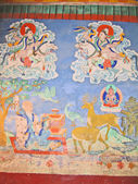 Ladakh, India, wall ancient drawing in a monastery of ancient capital of Sh — Stock Photo