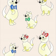 Family of cats, children's illustration, seamless background. — Stock Photo