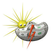 Weather symbol in the financial markets, thunderstorm with sun — Stock Photo
