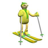 De kosten van de skiër berg op berg skiën, 3d, is geïsoleerd — Stockfoto