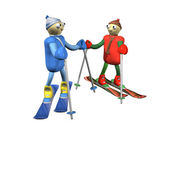 Mountain skiers stand on mountain skiing and talk, is isolated, 3d. — Stock Photo