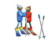 The loving couple of mountain skiers costs and embraces, 3d. — Stock Photo