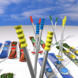 Many mountain skis with fastenings and mountain-skiing sticks — Stock Photo