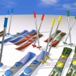Many mountain skis with fastenings and mountain-skiing sticks — Stock Photo #4025707