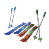 Mountain skiing with fastenings and mountain-skiing sticks — Stock Photo