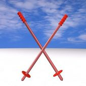 Red metal mountain-skiing sticks in the form of a dagger, 3d. — Stock Photo