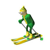 The mountain skier goes for a drive on mountain skiing, 3d — Stock Photo