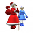 Santa Claus or Father Frost, girl Santa Claus or Snow Maiden — Stock Photo #4104621