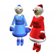 Two girls Santa Claus or the Snow Maidens, 3d. — Stock Photo #4104853
