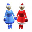 Two girls Santa Claus or the Snow Maidens, 3d. — Stock Photo #4104876