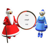Santa Claus or Father Frost, girl Santa Claus or Snow Maiden — Stock Photo