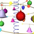 Abstract New Year's Christmas background with fur-tree toys — Stock Photo #4148821