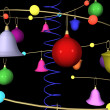 Abstract New Year's Christmas background with fur-tree toys — Stock Photo