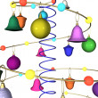 Abstract New Year's Christmas background with fur-tree toys — Stock Photo #4148861