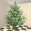 The dressed up New Year's Christmas fur-tree in an apartment interior - Stock Photo
