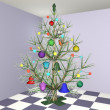 The dressed up New Year's Christmas fur-tree in an apartment interior — Stock Photo #4149596
