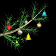 Multicolored fur-tree toys on a fur-tree branch, it is isolated, 3d. — Stock Photo