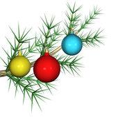 毛皮木の枝に色とりどりの毛皮ツリーおもちゃ、それが分離され、3 d. — ストック写真