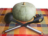 Plastic ladles with the iron handle and a pumpkin on a striped mat — Stock Photo