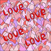 Multicolored background from small sectors of heart with an inscription lov — Stock Photo