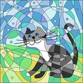 Abstract cat against from small sectors. — Stock Photo