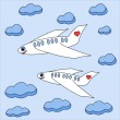 Stock Photo: Enamored planes fly in sky among clouds